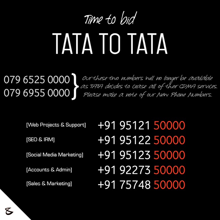 Time to bid TATA to #TATA!   Kindly note the change in our numbers!   #CompuBrain #Business #Technology #Innovations