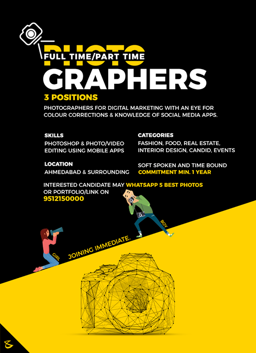 We are hiring Photographers.  #CompuBrain #Business #Technology #Innovations #DigitalMediaAgency #JobsInAhmedabad #Photography
