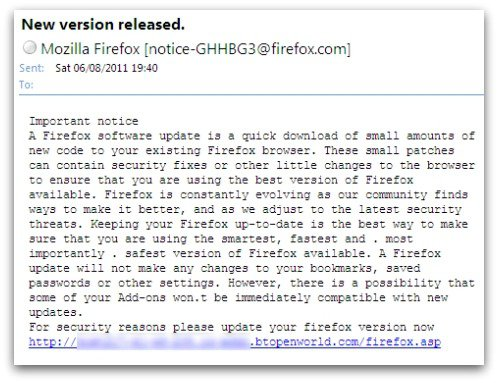 Fake Firefox update email - don't click, or you may have your passwords stolen..