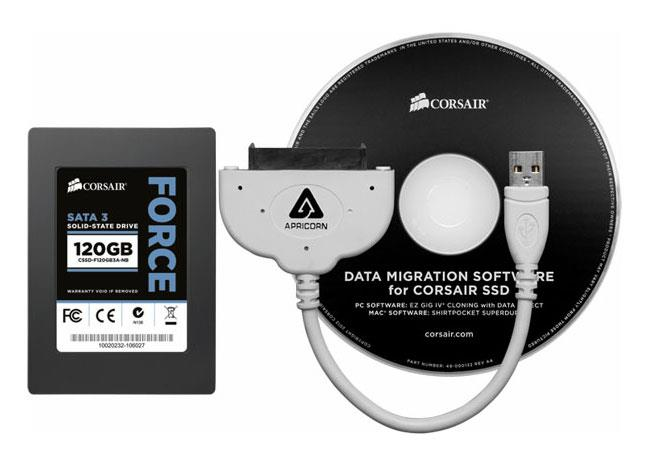 ":: Corsair SSD Notebook Upgrade Kit Unveiled ::  Anyone who has consider upgrading their notebook hard drive to a faster solid state drive (SSD) but has been put of by the complexity of installing a new drive. Might be interested to learn that Corsair has launched a new SSD upgrade kit, designed to help anyone would is looking to added a little extra data access speed to their notebook. The new kits contain everything you need to swap out your old clunky hard disk drive, and includes a USB-to-SATA cable and easy-to-use migration software for transferring over your operating system and personal data. Thi La, Vice President of Memory Products at Corsair explains:  ""Laptop owners have become more aware of the performance, power efficiency, and reliability of SSDs but many have been put off by the complexity of moving their existing data,""-""The new Force Series 3 SSD Notebook Upgrade Kits simplify the data migration process, making upgrading to an SSD easier than ever."""