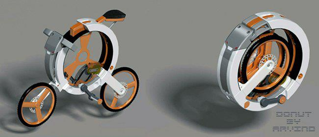 :: Donut bike concept folds up for portability ::