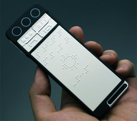 Touch Phone For The Blind  The B-Touch mobile phone takes touchscreen revolution a step ahead by incorporating innovate features to make a touchscreen cellphone for the blind. Limitation of senses does not hinder the sensitivity of this phone coz it combines technologies of blind-touch screen (Braille), voice systems and programs to function as regular phone, navi-system, book reader and object recognizer.