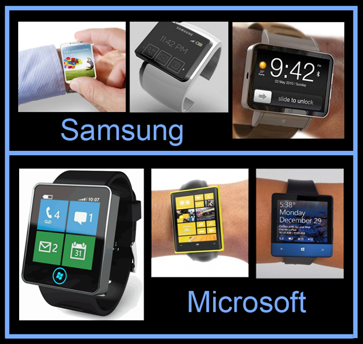 The smart watch race is on...!!  Microsoft & Samsung Hints, making a smart watch  Microsoft is trying really hard to embrace the devices and services company concept Steve Ballmer has talked about so many times in the past, so the Windows maker is now working on some gadgets that could hit the market in the near future.  Samsung Galaxy Altius indicate that the device may feature a large 500 x 500 pixel touch-screen with a tiles UI to control music, watch faces, email and notifications.
