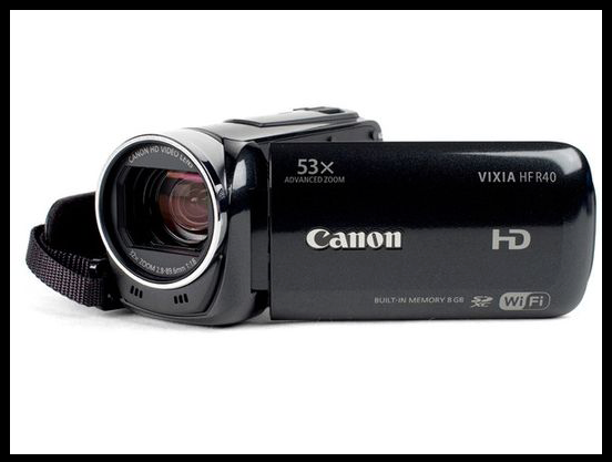 HD camcorder delivers quality on the cheap..  The Canon Vixia HF R40 (MSRP $399) is an HD camcorder that delivers quality video on the cheap. It's an updated version of the HF R30, one of last year's best value camcorders. Sitting squarely in the middle of Canon's entry-level lineup, the R40 comes with a slightly redesigned look, more Wi-Fi integration, and a new 1080/60p recording mode. It has good image quality in daylight and excellent battery life, plus ample extra features.  Smartphones may be eating away at the market share of camcorders like this one, but anyone upgrading from smartphone-caliber HD video will appreciate the HF R40's image stabilization and mighty 32x zoom. There's also the matter of expandability — instead of robbing your phone of precious internal space normally used for apps and music, the R40 includes 8 GB of built-in storage, plus an SDXC memory card slot.