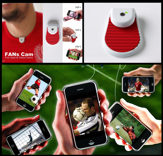What else can be better than watching what you favorite sports player is watching in real time, for example all Robin Van Persie fans would for an option like that. Well, two National Cheng Kung University students have designed FANs Cam for that exact craving and have won Red Dot Award (Design concept) for this feat. Sheng-hung Lee and Wai-Yeh Chan have made this camera specifically for sports where either the coaches can analyze the players performance or an average fan can get the live feed of player's view in case they are in the stadium and unable to see the action clearly. This lightweight and waterproof miniature camera works by simply providing the feed to the user who scans the back of the ticket with QR code on it using a smartphone and then immediately gets the live feed of what the player is upto.