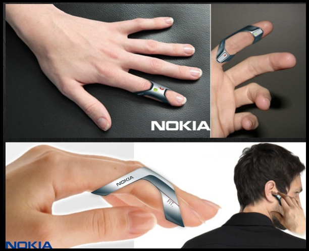 ... The 'Nokia FIT' hands-free cell phone ...  The 'Nokia FIT' hands-free cell phone is a minimalist cell phone that fits directly on your finger.   The fingertip phone is operated simply by your thumb and pointer finger. The silicone and rubber material it is made of makes it a phone that will fit many different finger thicknesses as well as make it waterproof. The 'Nokia FIT' vibrates on your finger to notify you that you have an incoming phone call.  The 'Nokia FIT' brings cell phone technology closer to a sci-fi future where phones are small and simple. With the development of devices such as Google Glass, the 'Nokia FIT' has the potential to work seamlessly with the heads up display of the Google Glass.
