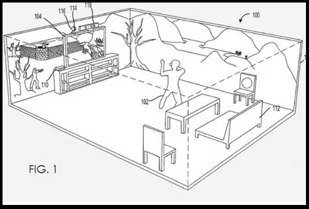... Microsoft patent reveals possible gaming future ...  Microsoft has filed a patent for a console which could transform the walls of a living room into a 360 degree gaming experience.  The patent, for an