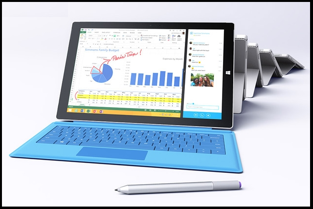 ... Microsoft unveils new Surface Pro 3 tablet ...  The new tablet has a 12-inch screen with a 3x2 aspect ratio and a 1440x1260 display. It weighs 800 grams and is 9.11 millimeters thick, making it the thinnest-ever product with an Intel core chip. The device will be on sale tomorrow for $799.