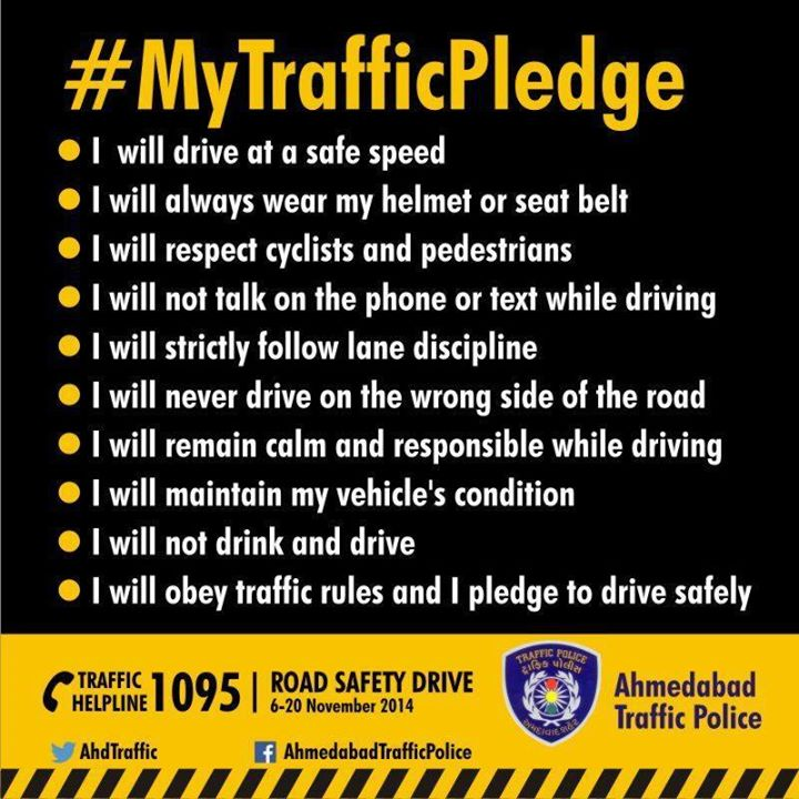 I pledge to change the traffic situation in my city because change begins with me. #MyTrafficPledge   Share this post to spread awareness!  CompuBrain supports Ahmedabad Traffic Police !