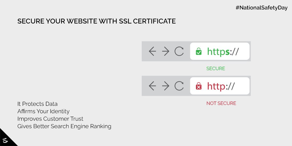 Consider SSL Certificate as the seatbelt for your Website.  #NationalSafetyDay #SSL #SSLCertificate #CompuBrain #Business #Technology #Innovation https://t.co/zWmOizzWv5