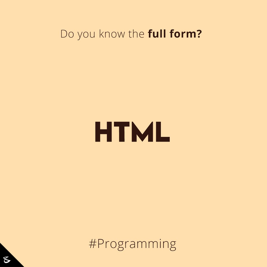 Do you know the full form of #HTML?  #Business #Technology #Innovations #Programming https://t.co/XRjcYdpJKy