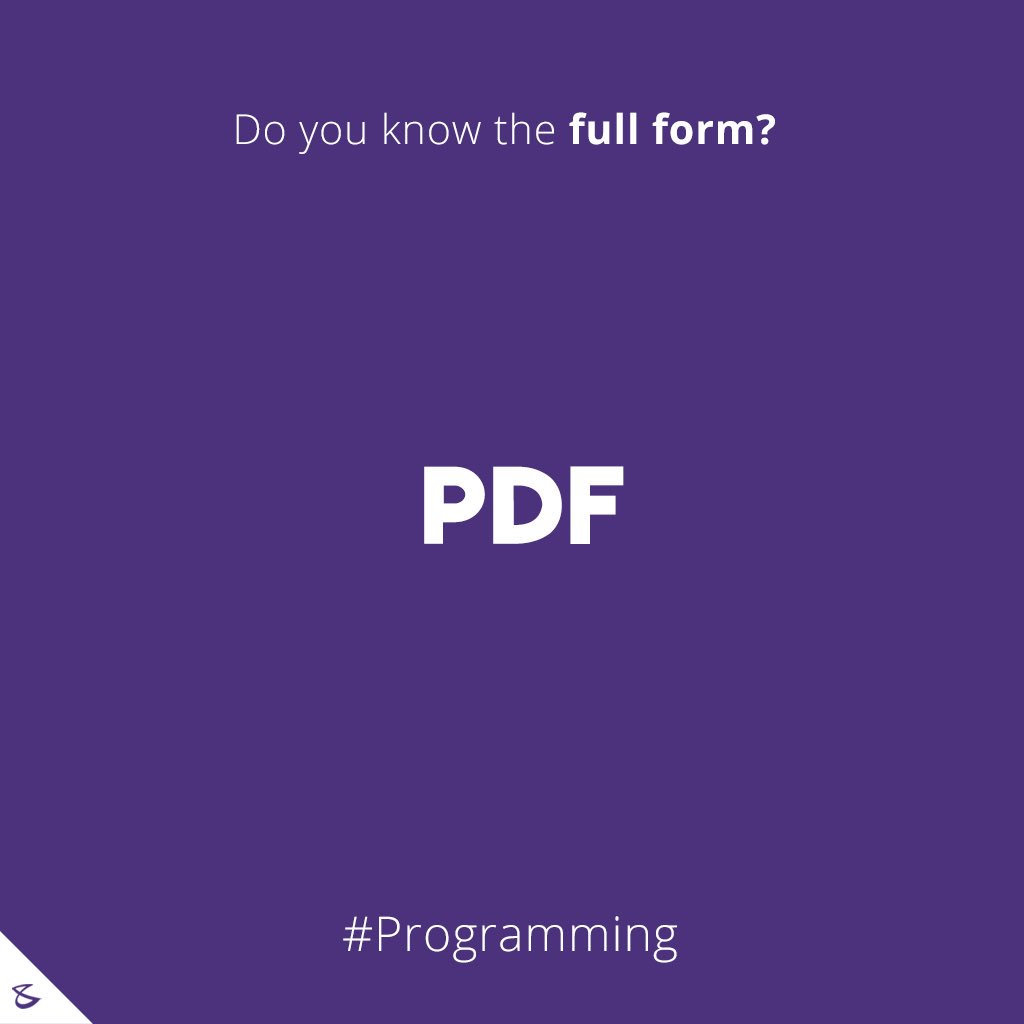 Do you know the full-form of PDF?  #Business #Technology #Innovations #CompuBrain https://t.co/Ft30kqQjWk