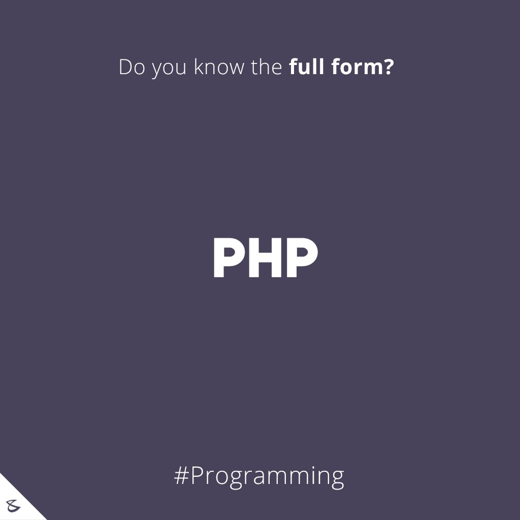 Do you know the full-form of PHP?  #Business #Technology #Innovations #CompuBrain https://t.co/Hlj4NvOfkL
